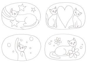 シンプルな猫の塗り絵