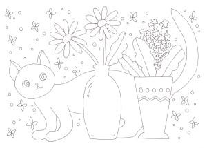 花瓶と猫の塗り絵