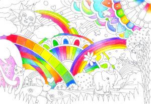 虹の塗り絵の塗り途中