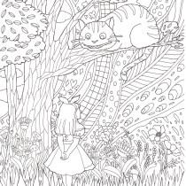 アリスとチェシャ猫のシーンの塗り絵です