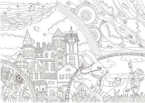 アリスのうさぎと時計の塗り絵