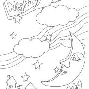 月と雲の塗り絵