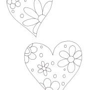 花模様のハートの塗り絵