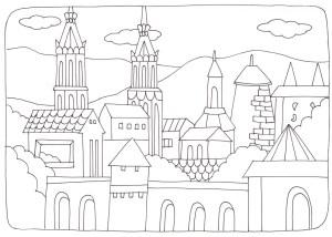 ヨーロッパの建物の塗り絵
