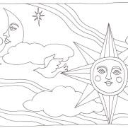 月と太陽の塗り絵