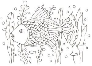魚と海藻の塗り絵