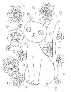 猫と花の塗り絵