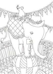玉のりゾウの塗り絵