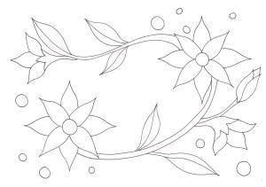 花と葉っぱの塗り絵