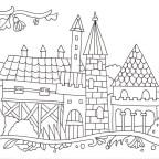 レンガの建物と花の塗り絵