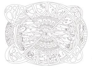 海底模様のマンダラ塗り絵