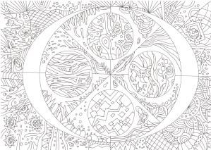 丸模様のマンダラ塗り絵