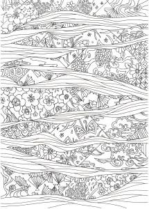 花と流水紋様の塗り絵