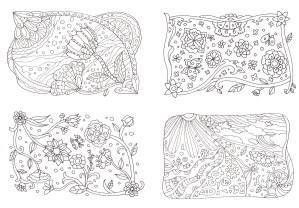 4枚組の花の塗り絵