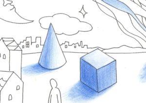 円錐と立方体の塗り絵