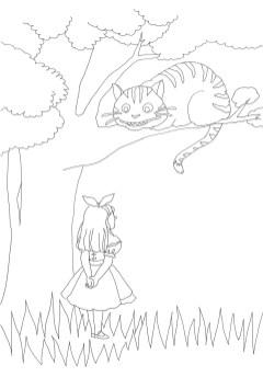アリスとチェシャ猫の会話シーンの塗り絵