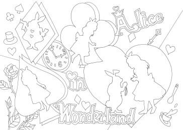 不思議の国のアリスのシルエットの塗り絵