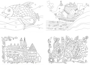 魚とゾウの塗り絵