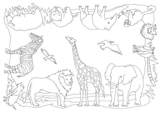 12種類の動物がぐるりと並んだ塗り絵です ぬりえラボ
