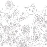 花を背景にした猫の塗り絵