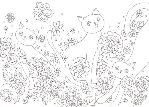 かわいい猫たちが花の中で遊んでいる塗り絵です ぬりえラボ