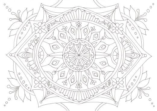 ユリの花をイメージしたマンダラ塗り絵です ぬりえラボ