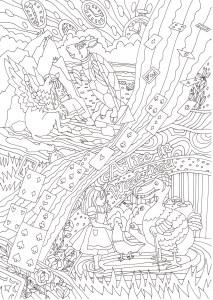 不思議の国のアリスのトードー鳥のシーンの塗り絵