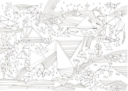三角形と縞もようの塗り絵