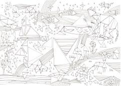 三角と縞模様の塗り絵