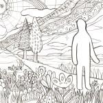 太陽と月の国を旅する人の塗り絵