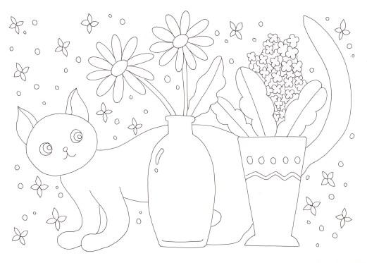 花びんと花と猫の塗り絵