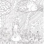 不思議の国のアリス、チェシャ猫のシーンの塗り絵