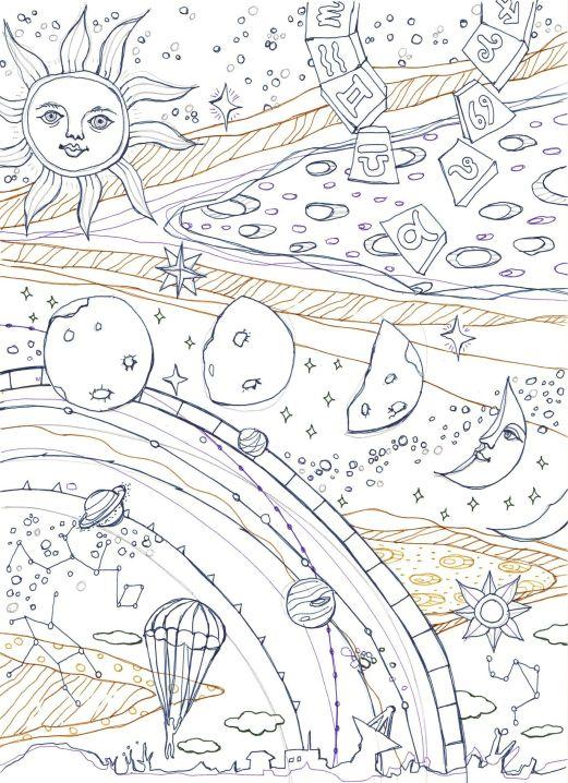 太陽と月と宇宙をイメージした塗り絵