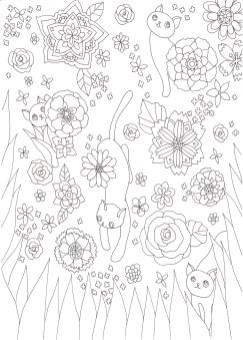 花壇でかくれんぼする猫の塗り絵