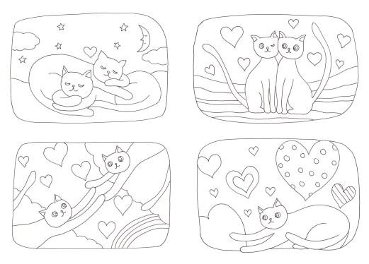 ハートと猫の4枚組の塗り絵