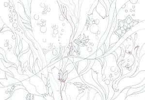 花がモチーフの幻想的な塗り絵