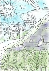 太陽と月の王国の塗り絵