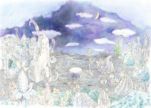幻想的な月夜の塗り絵