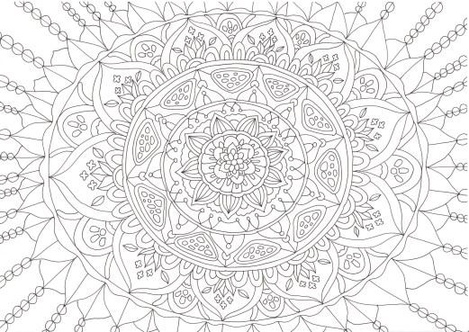 牡丹の花のマンダラ塗り絵