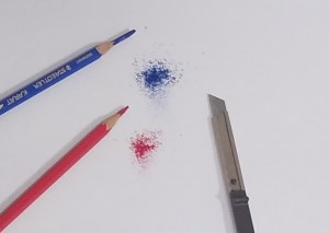 色鉛筆の芯を削り粉にした様子