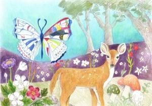 蝶と鹿の塗り絵