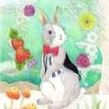擬人化したウサギの塗り絵
