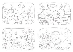 楽しいウサギの塗り絵