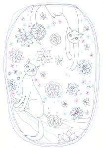 2匹の猫と花の塗り絵