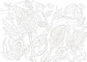 ペイズリー模様の塗り絵