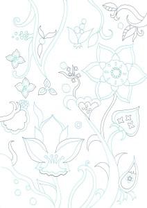 青い線の花の塗り絵