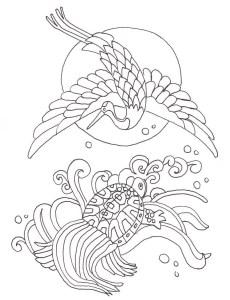 鶴亀の吉祥塗り絵