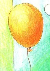 オレンジの風船の塗り絵