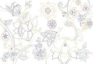 アジア風の花の塗り絵