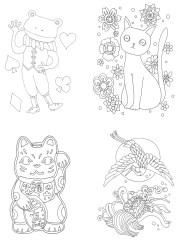 招き猫と鶴亀の塗り絵